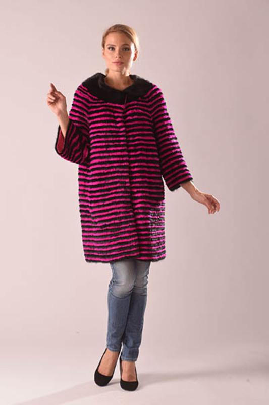 Пальто из вязаной норки