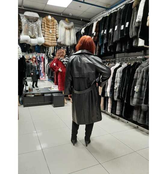 Классическая удлиненная кожаная куртка